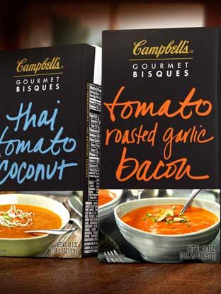 Handwritten designs for Campbell's Gourmet Bisque soups