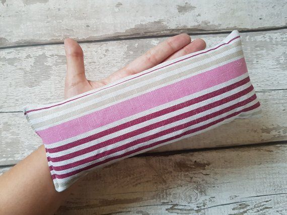 5911534a475 wheat bag small size perfect for use on your eyes or head in berry and  nutral striped cotton fabric with or without lavender