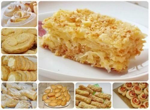 """Что можно приготовить из слоёного теста? Очень много разных вкусностей! От простых слоёных """"Язычков"""" до шикарного торта """"Наполеон""""; слойки трубочки, """"конвертики"""", """"уголки"""", """"розочки""""; с начинкой из яб..."""
