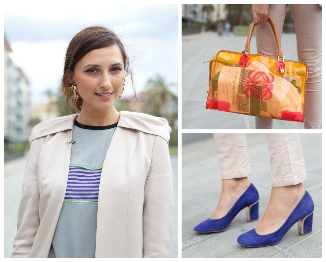 Chaqueta Duyos, camiseta MY/TE, bolso Loewe, pendientes Parfois y zapatos Uterqüe.