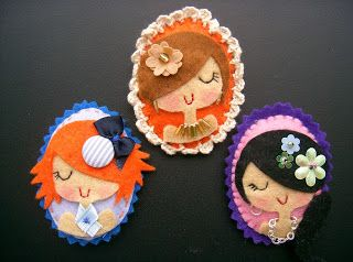 Felt Cameo Brooches