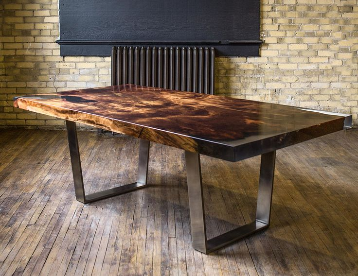 Wonderful Custom Dining Table Made Of Historic Redwood With Clear Resin And Antique  Pewter Legs.