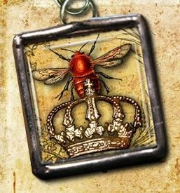 Items similar to Reversible Glass Queen Bee Crown Keep Calm Carry On Soldered Pendant Charm for Necklace or Bracelets zipper pull VMX030 ECS on Etsy