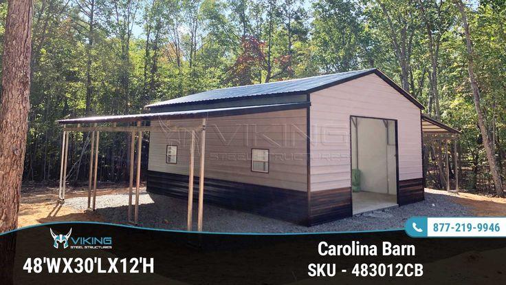 48'Wx30'Lx12'H Carolina Barn Metal barn, Metal buildings
