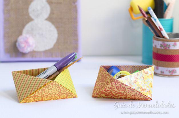 Organizadores de escritorio triangulares de #origami #manualidades