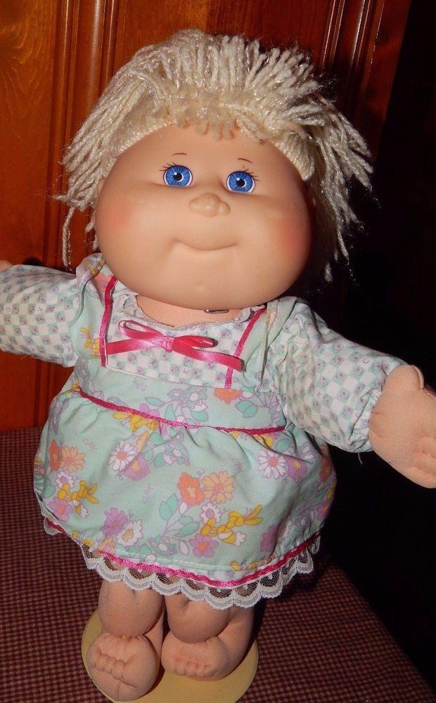"Vintage 1988 Mattel Cabbage Doll Blonde Yarn Hair Blue Eyes W/ Dress GUC 15"" #Mattel #BabyDoll"