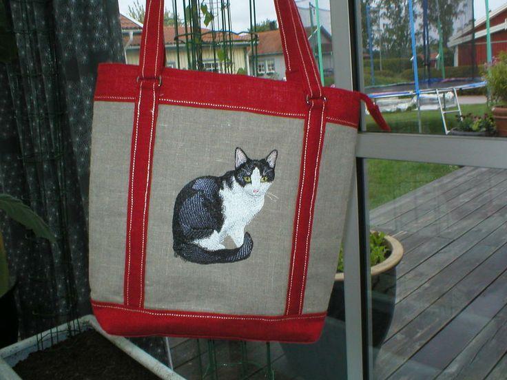 Svart och vit katt väska