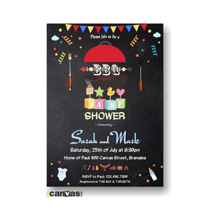 baby shower bbq babyq invitation - barbecue chalkboard baby shower, Baby shower invitations