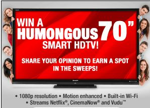 Win a humongous 70 inch smart TV at  http://oztvreviews.com/2012/06/tv-related-promotions/