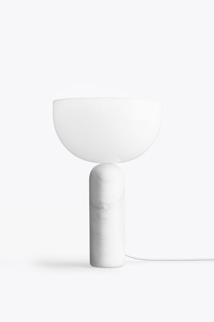 KIZU TABLE LAMP - WHITE MARBLE W. WHITE ACRYLIC  — New Works