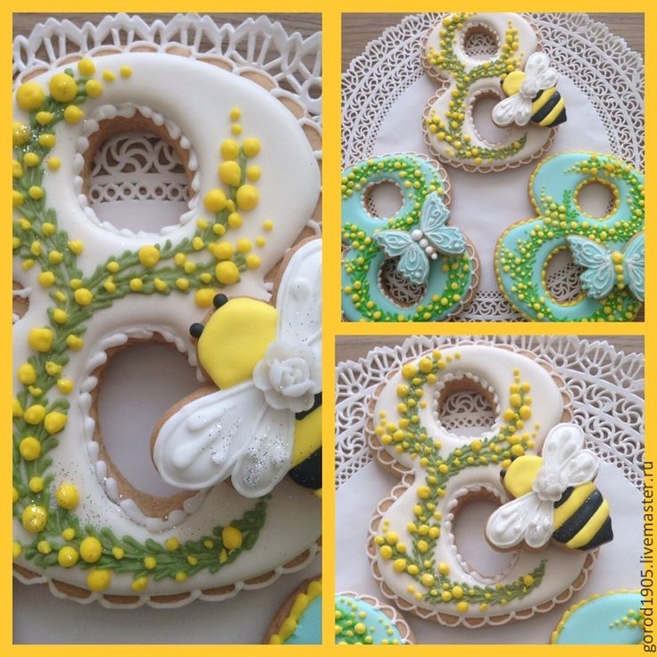 Купить Восьмерка с пчелкой - разноцветный, пряники, пряник расписной, пряник имбирный, пряничный сувенир