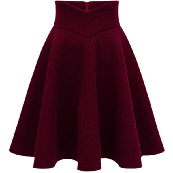 Choies Wine Red High Waist Midi Woolen Skater Skirt (39,440 KRW) ❤ liked on Polyvore featuring skirts, bottoms, saia, red, red high waisted skirt, red circle skirt, midi skater skirt, wool skirt and purple skater skirt