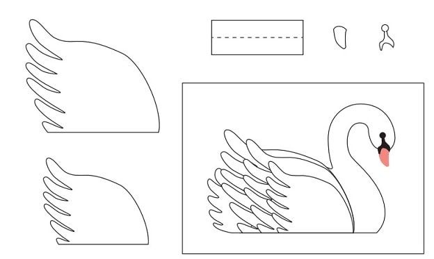 варианты поделка из бумаги лебедь шаблон могут