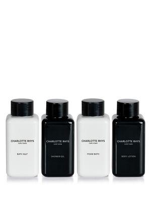 INDULGE GIFT BOX_ Foam Bath – Shower Gel – Bath Salts - Body Lotion.  Das perfekte Set für unterwegs. Verwöhnen Sie sich mit unseren 4 Travelsize Produkten.  ____________________________  VERPACKUNGSINFORMATION Ohne Konservierungsstoffe, tierischen oder Petroleum Derivaten. Wurde nicht an Tieren getestet Enthält 4 x 100 ml  Düfte: No.17, Under the Leaves.