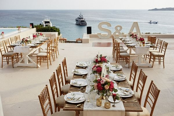 Wedding Initials, wedding reception decor | Greek island wedding