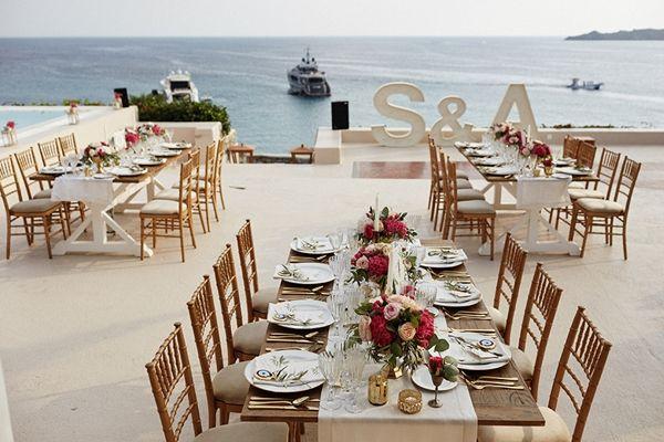 Wedding Initials, wedding reception decor | Greek island wedding