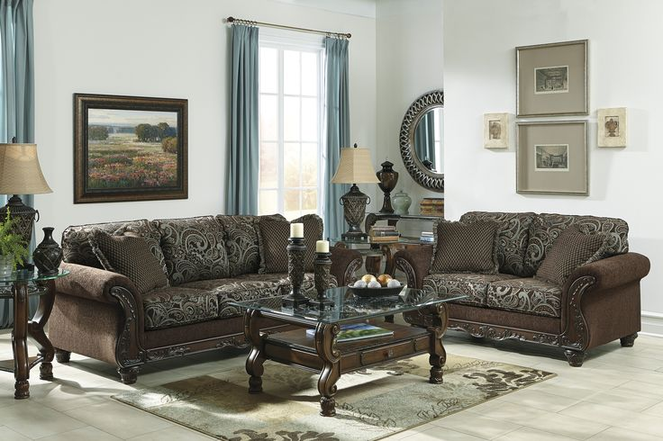 furniture room sets livings traditional living sof forml ashley trditionl