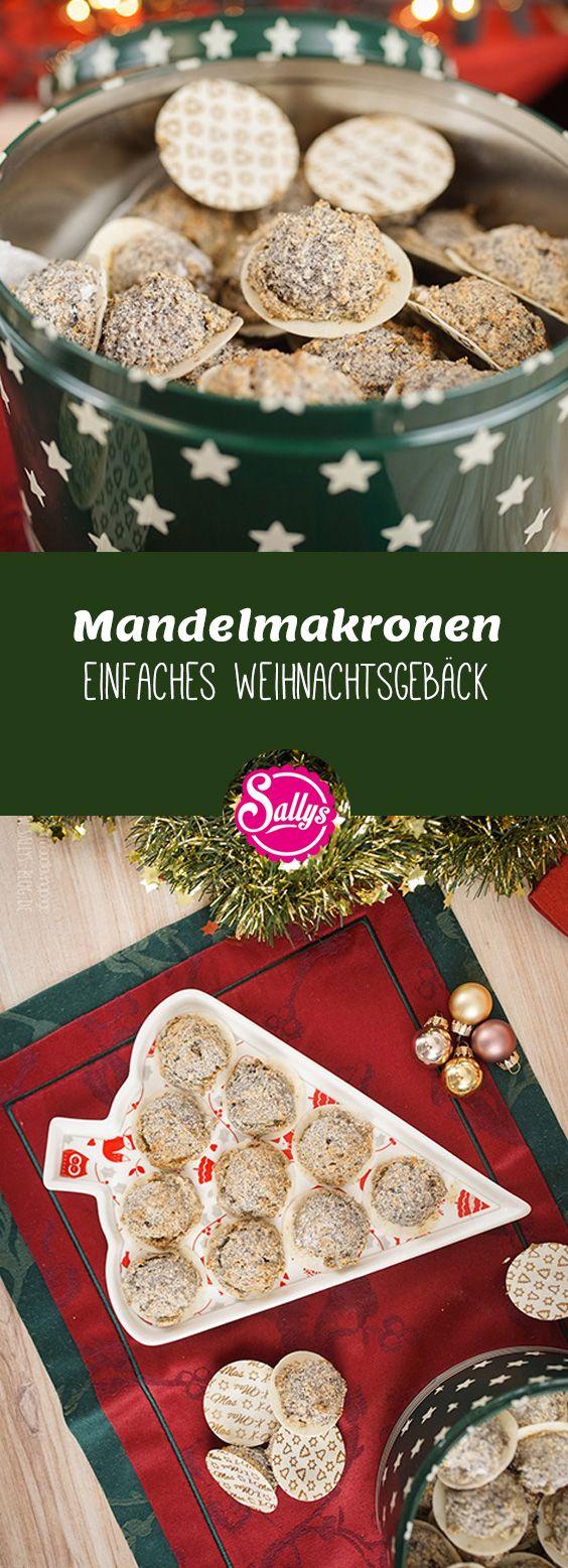 Diese Mandelmakronen bestehen aus einer Baisermasse aus Eiweiß und Zucker und werden verfeinert mit Mandeln, Mohn und Marzipan.