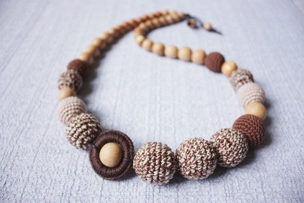 Teething necklace/ Nursing necklace for Mommy - brown beige - cotton yarn wood beads wood ring made to order, via Etsy.