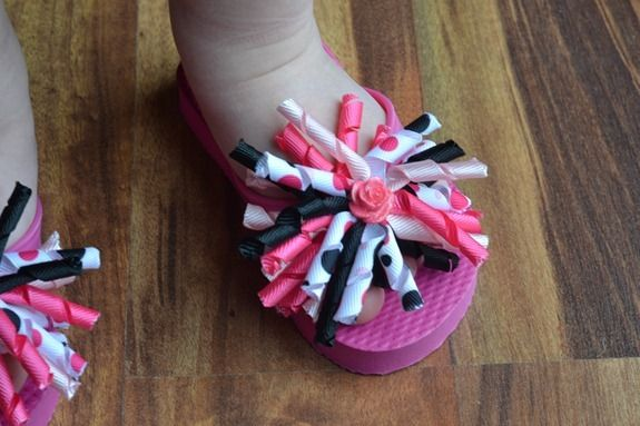 Decorated Flip-flop tutorial. So cute! Might try to make these with all the ribbon I bought for the granddaughter who won't keep bows in her hair!