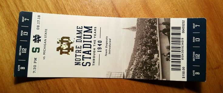 Notre Dame Michigan State Football Home Game Ticket Stub 9-17-16 Fightin Irish…