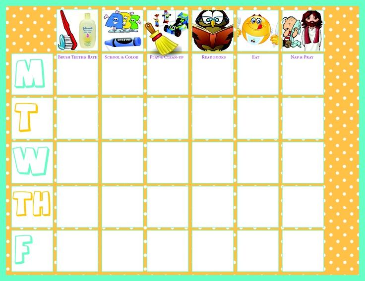 toddler preschool chore chart Blank | Justice | Pinterest | Toddler ...
