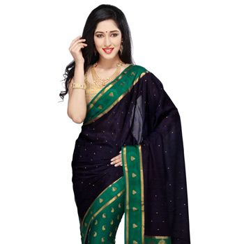 Dark Blue and Dark Teal Green Pure Mysore Silk Saree with Blouse
