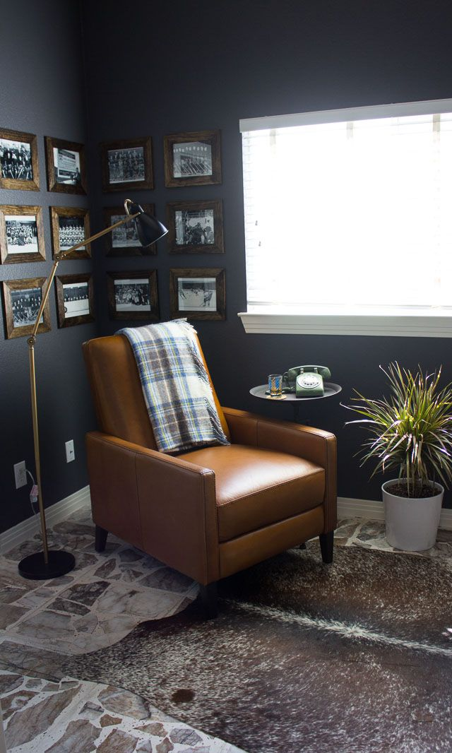 Check out this modern, industrial man cave in moody grays | http://www.designimprovised.com