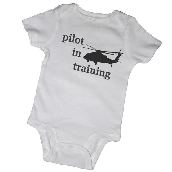 PILOT IN TRAINING BABY ONESIES & TOT TEES, BODYSUIT, ROMPER, T-SHIRT, BABY SHOWER, MILITARY, HELICOPTER, AIRPLANE
