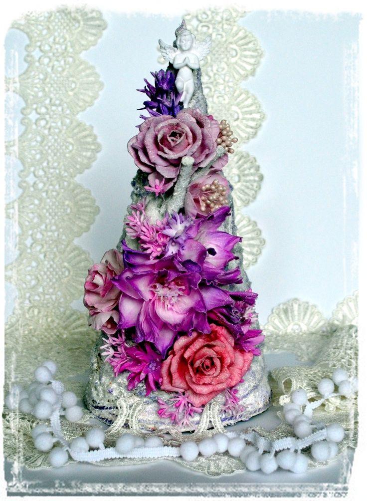 Christmas tree with handmade flowers. FOAMIRAN