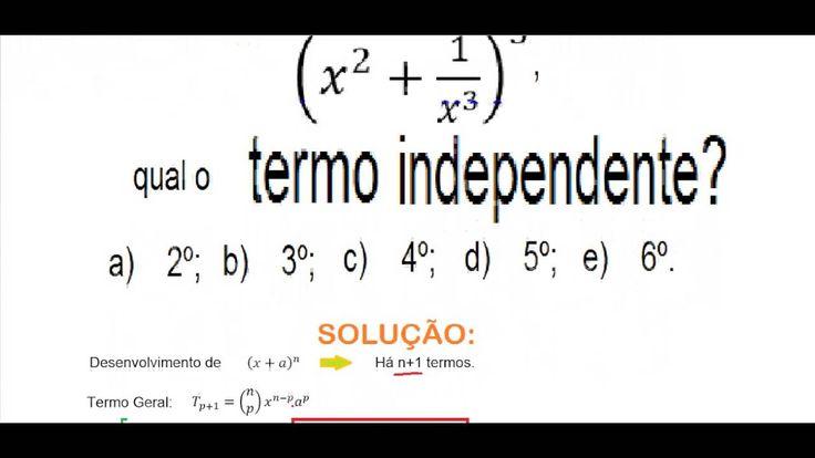 Curso de Matemática Cálculo do termo independente do Binômio de Newton T...