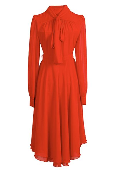 Red dress with pin-tuck shoulders, long sleeves, pussy bow to neck, fitted waist, and softly flowing mid-length skirt.
