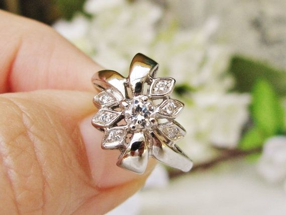 Vintage Engagement Ring Unique Diamond by LadyRoseVintageJewel