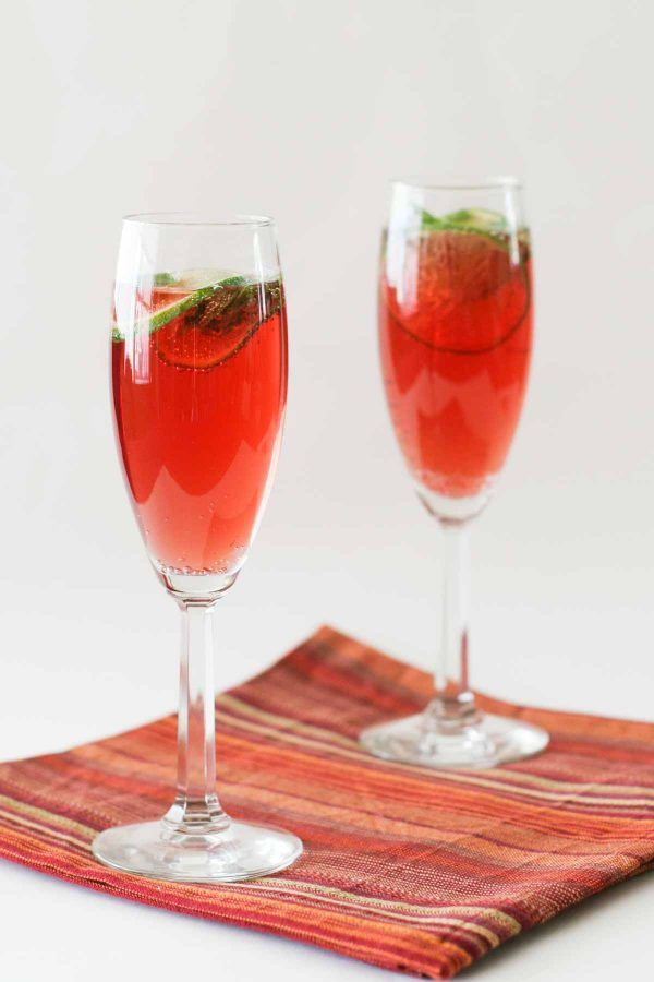 Both sweet and tart, these Virgin Pomegranate Cranberry Bellinis are a delicious mocktail for any celebration!