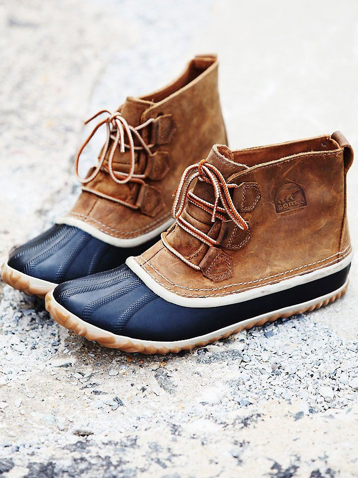 SOREL Out N About Leather Rubber Waterproof Lace Duck Boots Booties 8.5 Elk #SOREL #Rainboots
