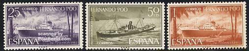 Youth welfare, ships 3v, Country: Fernando Poo, Year: 1962, Product code: sfpp0203, Nr. Michel: 203/05, Nr. Yvert: 199/01