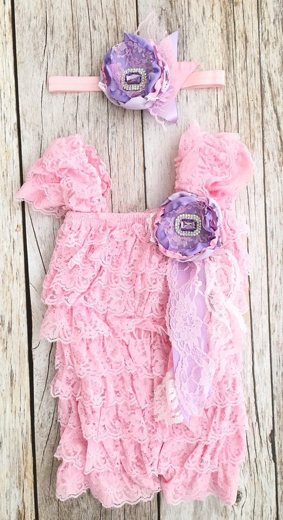 Lavender and Pink Petti Romper Set First Birthday by TheSassyTot