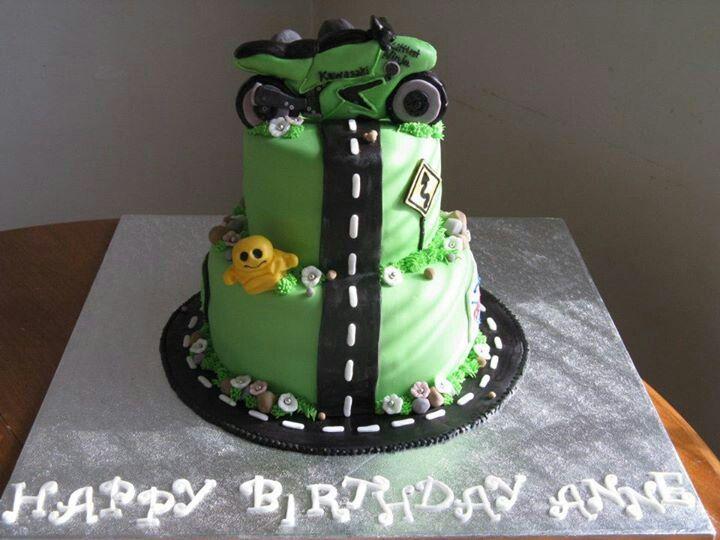 Kawasaki Ninja Cake (Custom Birthday Cake) | Reba's Artsy ...