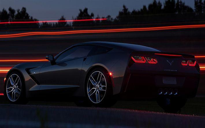 Descargar fondos de pantalla Chevrolet Corvette Stingray C7, 2017 coches la noche, supercars, Chevrolet