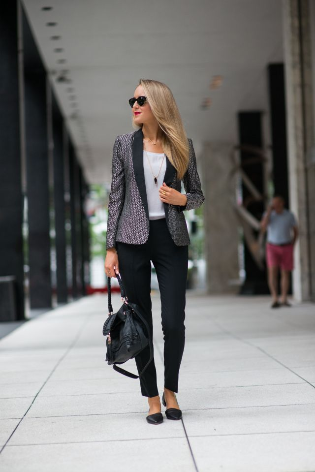 statement suit with tank top and straight leg pants