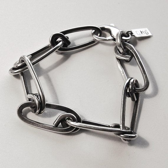 Heavy Hunter Sterling Silver Chain Link Bracelet Etsy Chain Link Bracelet Sterling Silver Earrings Studs Delicate Silver Necklace