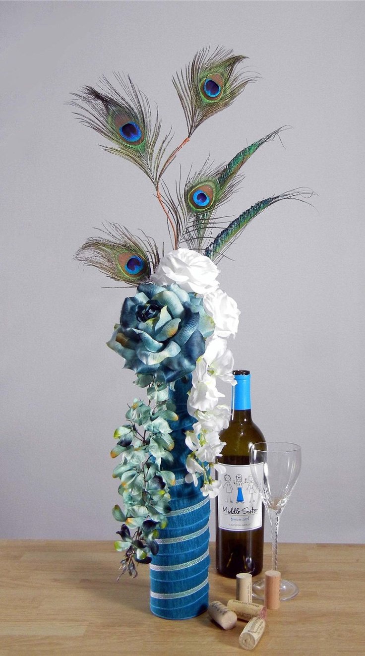 Peacock Vase Centerpiece : Images about decorated bottles on pinterest glass