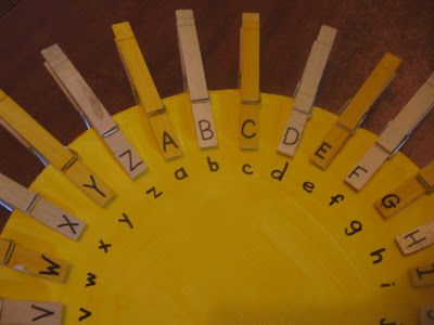 Tots and Me: Alphabet Matching Sun Activity - great matching, letter identification, AND fine motor skills.