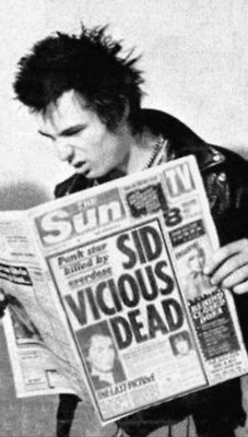 Sid Vicious Dead | Huh? | WTF | punk rock | headlines | The Sun | journalism | newspaper | iconic punk rocker | reckless | rebel | musician | delinquent | prank