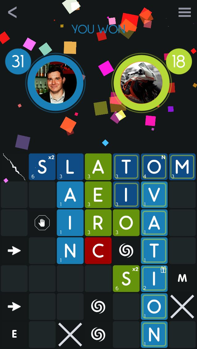 Win Screen from our game Quick Wordz!