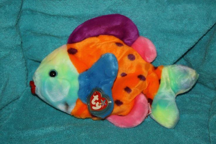 "Ty LIPS Orange Kiss Fish Soft (12"") Beanie Buddy Plush 2000 Colorful #Ty"