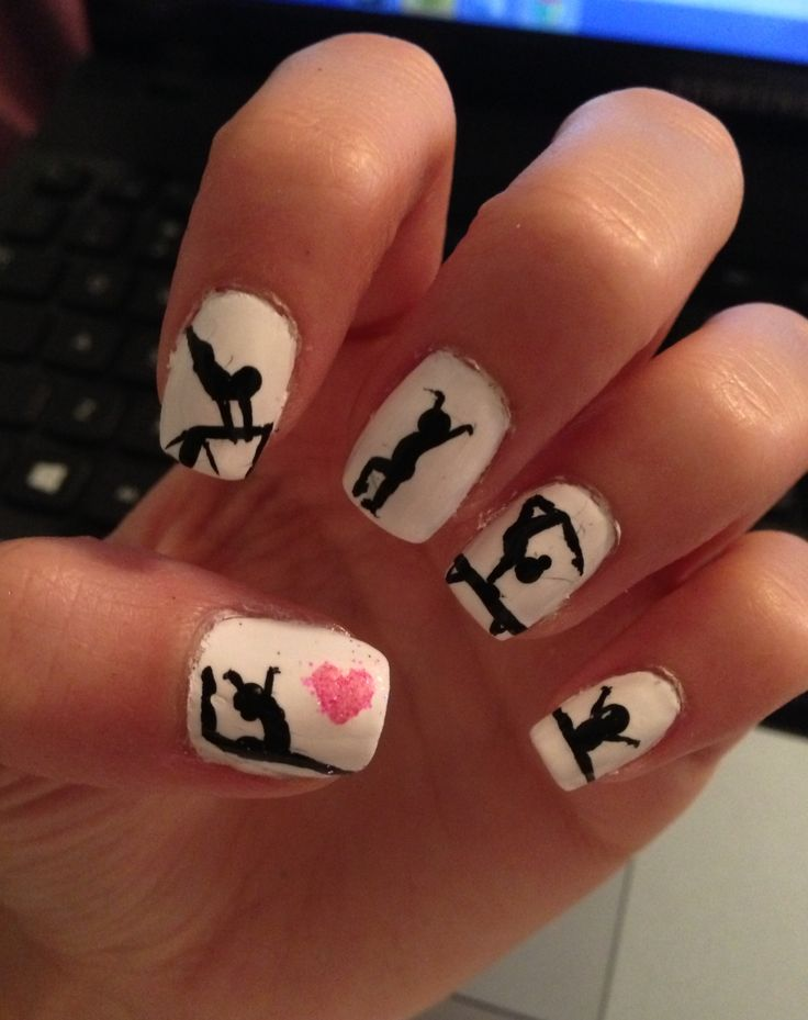 Gymnastics nails! cute, fun, pink, black, girls, sports, love, team, bars, beam, floor, design, vault