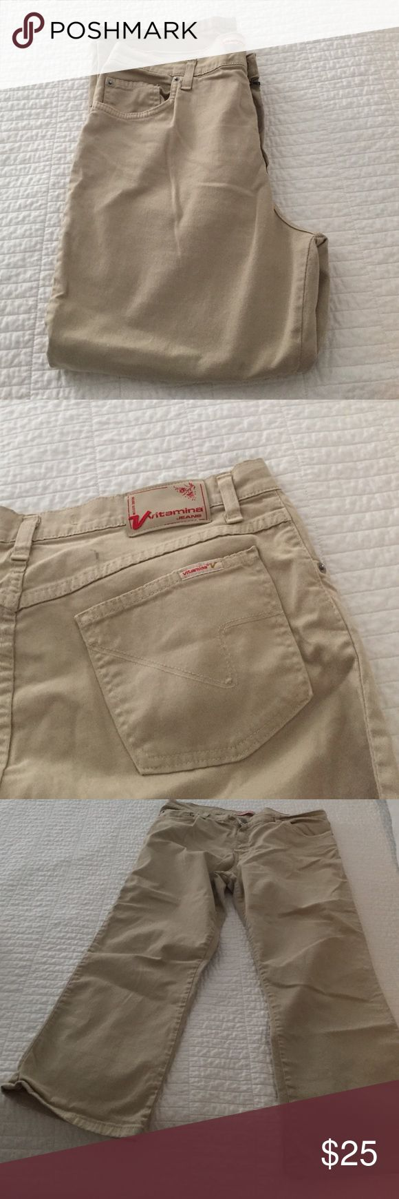 VITAMINA  stretch jeans. Khaki. Size 12. VITAMINA stretch jean. Tag inside says 52. They are Euro so they fit me as a 12. Low waist and cropped. VITAMINA Jeans Ankle & Cropped
