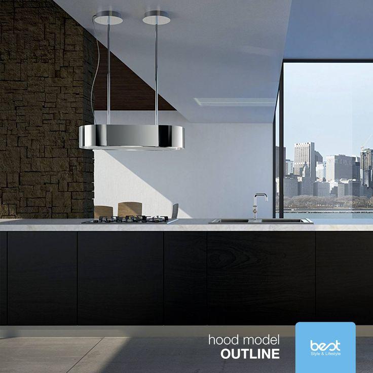 Elegancja, geometria i współczesne czyste wzornictwo to cechy Best Outline. Ten wyspowy okap wyposażony jest w technologię zasysania obwodowego: dla maksymalnej skuteczności w usuwaniu oparów i przykrych zapachów.  Foto: Best  #Best #Okap #Kuchnia #Technologia #Wyspa #Design #Living