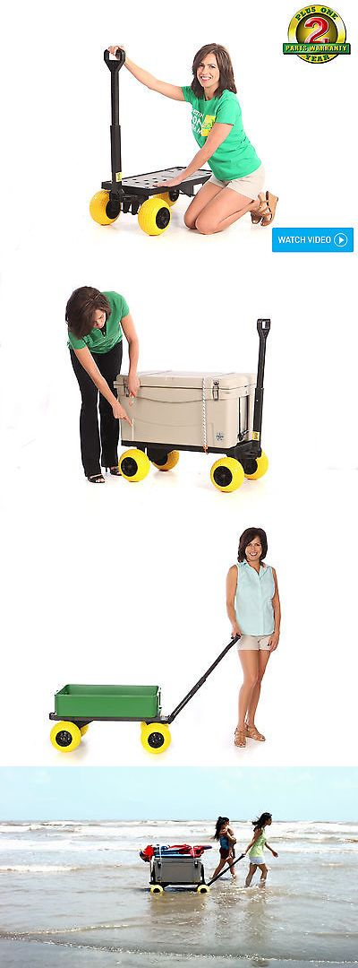 Fishing Carts and Wagons 179993: Flatbed 4 Wheel Cart Dolly Platform Beach Carts Hand Pull Wagon Indoor Outdoor BUY IT NOW ONLY: $149.0